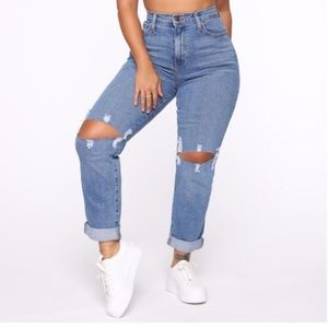 Not Your Mama's Distressed High Rise - Medium Wash